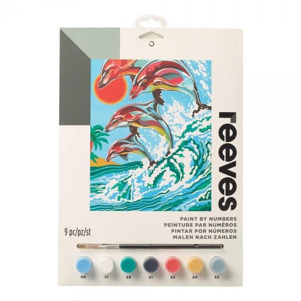 раскраска по номерам дельфины 7 акриловых красок 5 мл