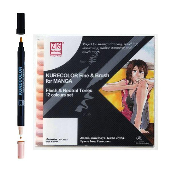 "ZIG Маркеры ""Kurecolor Fine & Brush Manga"" в наборах"
