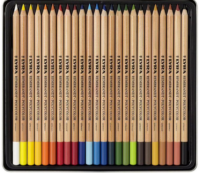 Материалы и инструменты для рисунка. Цветные карандаши, образец